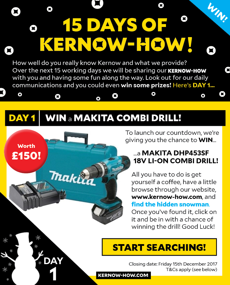 15 Days of Kernow-How - WIN a Makita Combi Drill!