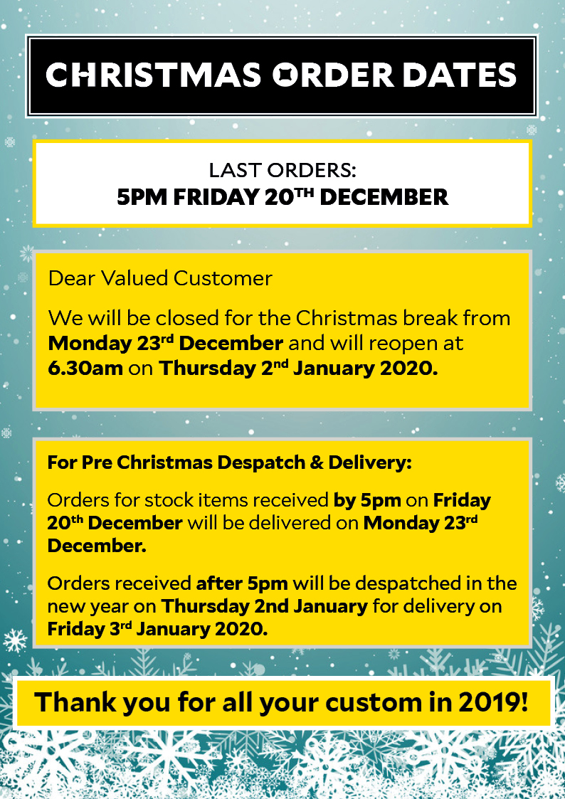 Christmas Order Dates and Opening Times